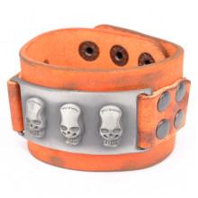BS331 Кожаный браслет Черепа, 217х40 мм
