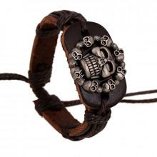 BS339 Кожаный браслет Черепа, ширина 23 мм, регулируемая длина