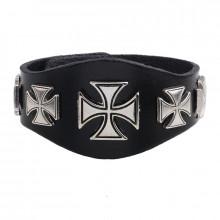 BS385 Кожаный браслет Кресты, 210х40мм
