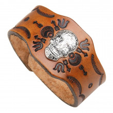 BS389 Кожаный браслет Череп, 240х20мм