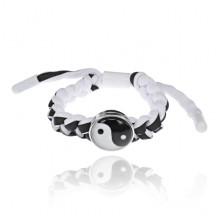 BS471-1 Плетёный браслет Инь-Ян, цвет чёрно-белый