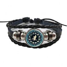 BS472-11 Плетёный браслет Знаки Зодиака Водолей, цвет чёрный
