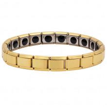 BSM005-G Магнитный браслет здоровья с турмалином 9мм, стрейч, нерж.сталь, золот.