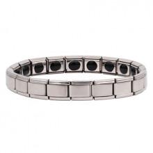 BSM005-S Магнитный браслет здоровья с турмалином 9мм, стрейч, нерж.сталь, серебр.