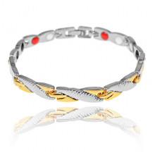 BSM022-2 Магнитный браслет, 20,5см, цвет серебряно-золотой