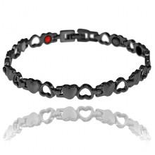 BSM023-1 Магнитный браслет Сердце, 21см, цвет чёрный