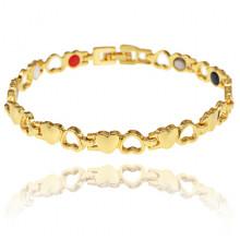 BSM023-3 Магнитный браслет Сердце, 21см, цвет золотой