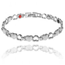 BSM023-5 Магнитный браслет Сердце, 21см, цвет серебряный