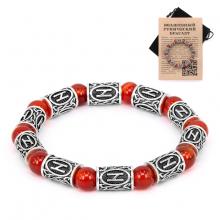 BSR004 Рунический браслет Хагалаз с натуральным камнем Сердолик