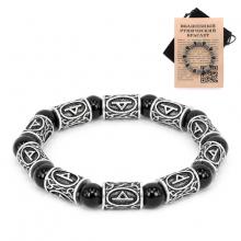 BSR009 Рунический браслет Турисаз с натуральным камнем Чёрный агат
