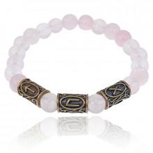 BSRL033 Рунический браслет Удача в любви, Розовый кварц