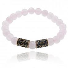 BSRL041 Рунический браслет Благополучие, здоровье, долголетие, Розовый кварц