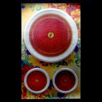 BUD004-15 Буддийские наклейки 1шт.х4,3см, 2шт.х2см, серебристые