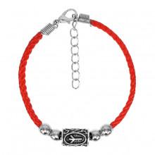 BZR016 Красный браслет с руной Альгиз