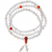 CH037-7 Чётки с Гуру-бусиной, белый нефрит