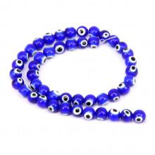 """FB8-031 Стеклянные бусины """"Глаз Назар"""" 8мм, 45-48шт., синие"""