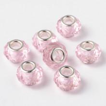 FBE0022 Стеклянная гранёная бусина для европейского браслета 14х9мм, отверстие 5мм, 1 шт., цвет розовый