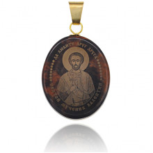 IK003-023 Именная иконка из обсидиана 27x22мм Валентин