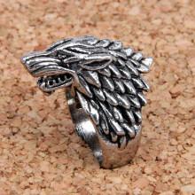 KL024-10 Кольцо Волк, размер 10 (19,9мм), цвет серебр.