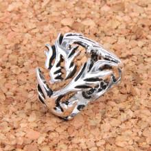KL033 Кольцо Дракон безразмерное, цвет серебр.