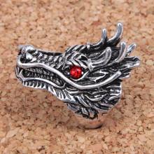 KL037-18 Кольцо большое Дракон, размер 18мм, цвет серебр.