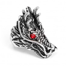KL037-21 Кольцо большое Дракон, размер 21мм, цвет серебр.