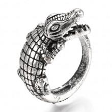 KL070 Кольцо Крокодил 19мм (размер 9) открытое