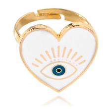 KL114 Безразмерное кольцо от сглаза Сердце, цвет белый