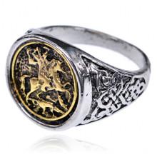 KL146-10 Кольцо Георгий Победоносец, размер 10