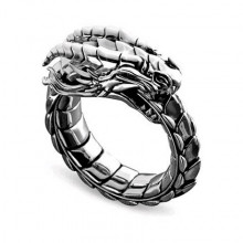 KL147-9 Кольцо Уроборос, тёмный металл, размер 9