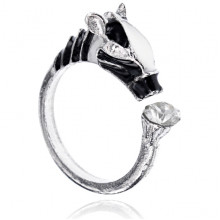 KL155 Безразмерное кольцо Зебра со стразой