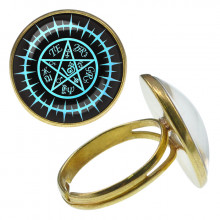 KLB012 Кольцо Магическая пентаграмма безразмерное
