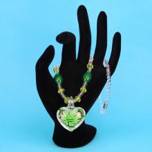 LGK008-1 Стеклянные бусы со светящимся кулоном, цвет зеленый