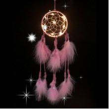 LS002-1 Подвеска ловец снов с подсветкой, 420х10см, розовая