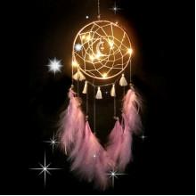 LS006-1 Подвеска ловец снов, 550х155мм, розовая