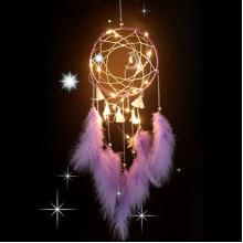 LS006-2 Подвеска ловец снов с подсветкой, 550х155мм, пурпурная