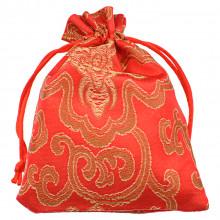 MS025-1 Мешочек из парчи 10х13см, цвет красный