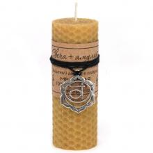 MSV040 Свеча с амулетом Свадхистхана чакра, воск, металл, 10х3,7см