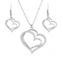 NJ010-S Набор Сердечки кулон, цепочка, серьги, со стразами, цвет серебр.