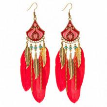 SE026-2 Красные серьги с перьями 11см