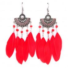 SE029-2 Красные серьги с перьями 9см