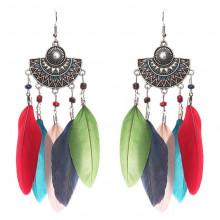 SE029-1 Серьги с цветными перьями 11,5см, цвет серебро
