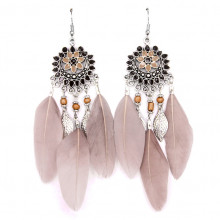 SE031-2 Светло-коричневые серьги с перьями 11см