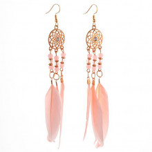 SE035-1 Серьги с розовыми перьями 13,5см, цвет золото
