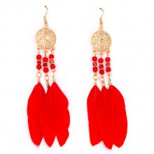 SE035-3 Красные серьги с перьями 10см