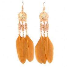 SE035-4 Серьги с перьями 10см, цвет хаки