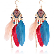SE037-4 Серьги Ромб с перьями, цвет сине-бордовый
