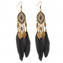 SE039-1 Серьги с чёрными перьями 13см, цвет античное золото