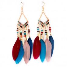 SE094-1 Цветные серьги с перьями 11см