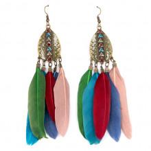 SE099-1 Цветные серьги с перьями 11см